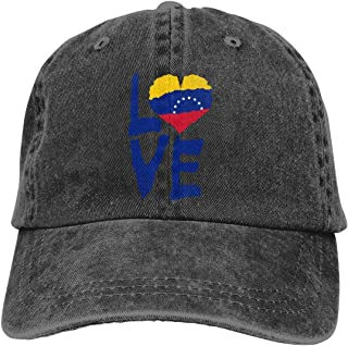 Unisexo Gorras de béisbol/Sombrero, Love Venezuela Men/Women Fashion Adjustable Baseball Cap Jeans Back Closure Fish Hat