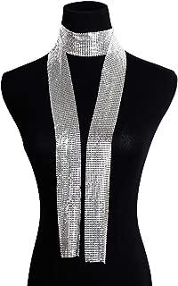Croozy Women Glitter Sparkle Metal Sequins Neck Tie Scarf Party Evening Long Thin Skinny Tie Shawls Neckerchief