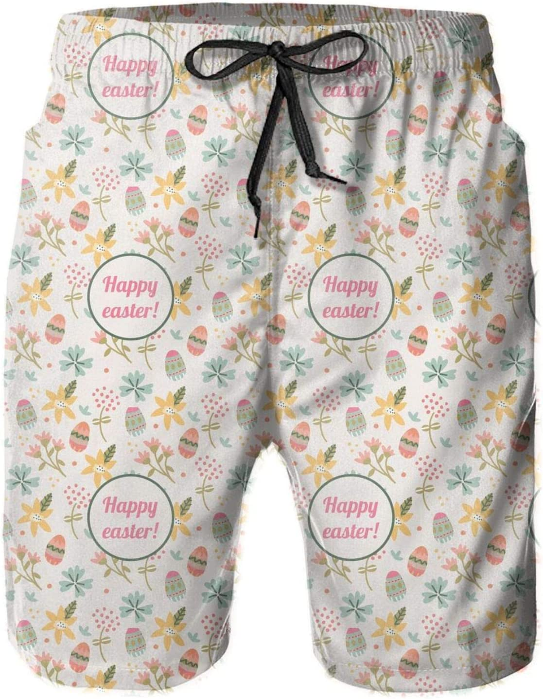 pengyong Easter Chicks and Bunnies Happy Easter Summer Underwear Board Shorts Bathing Suits Holiday Swim Trunks Quick Dry