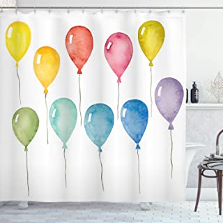 Ambesonne Kids Shower Curtain by, Colorful Balloons Party Happy Birthday Celebration Festive Themed Watercolor Artwork, Fabric Bathroom Decor Set with Hooks, 70 Inches, Multicolor