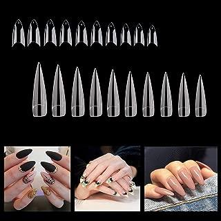 1000PCS False French Nail Tips Manicure Stiletto Shaped Nails, 10 Sizes, Full Cover Acrylic Fakes Nails Artificial Nail Art Clear Nail Tips False Finger Nail Tips for Nail Salon DIY Nail Design