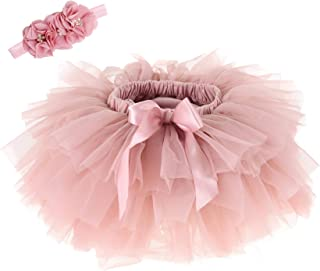 Baby Girls Tutu Skirt Headband Set Newborn Toddler Ruffle Tulle Diaper Covers 6-24 Months