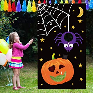 Rtudan Halloween Pumpkin Spider Web Bean Bag Toss Games with 3 Bean Bags for Kids and Adults Party Halloween Decorations