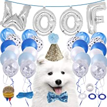 LOCOLO Dog Birthday Party Supplies,20 Pieces Blue Balloons,Party Decorations Paw Balloons,Dog Birthday Bow Tie and Hat,WOOF Letter Latex Balloons,Balloon Ribbon,Balloon Glue and Balloon Pumps