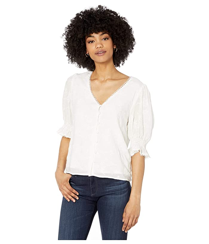 Cupcakes and Cashmere  Floria Floral Embroidered Rayon Puff Sleeve Top (Marshmallow) Womens Clothing