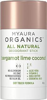 MyAura Organics MyAura Organics All Natural Deodorant Bergamont Lime Coconut, Bergamont Lime Coconut, 65 g