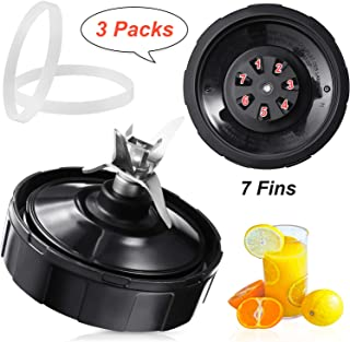 3 Pieces Blender Replacement Parts 7 Fins Bottom Blade and Rubber O-Ring Seal Gasket Compatible with Ninja Nutri Auto Blender Replace for BL480 BL481 BL482 BL490 BL487