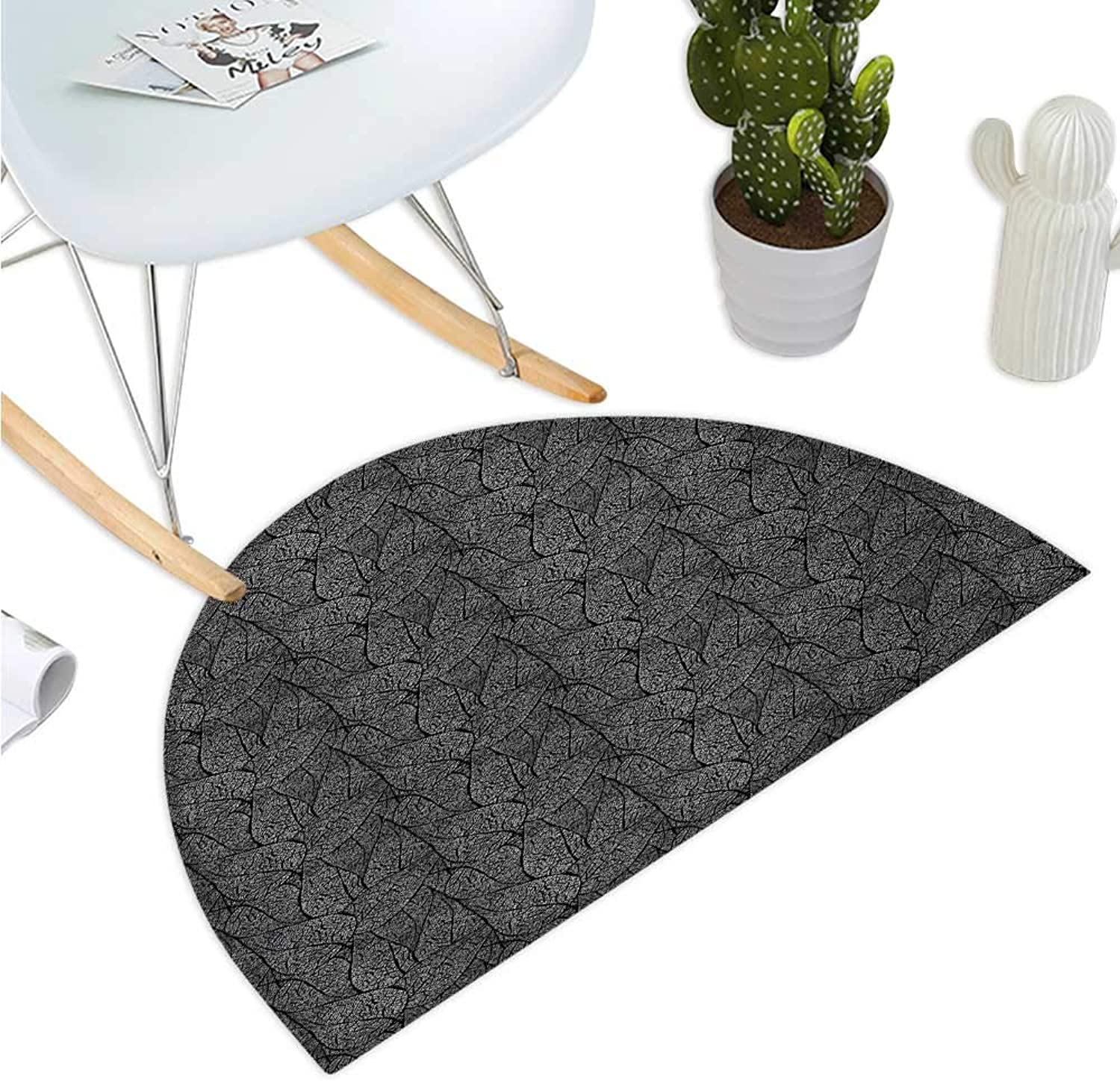Abstract Semicircular Cushion Monochrome Leaves with a Web of Veins Swirled Design Ornamental Flora Pattern Bathroom Mat H 39.3  xD 59  Black White