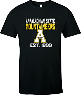 NCAA Appalachian State Mountaineers Est Stack Jersey Short Sleeve T-Shirt, Black,Large