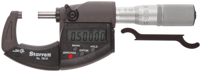 Starrett 795MEXFL-75 LCD Outside Micrometer, IP67, Friction Thim
