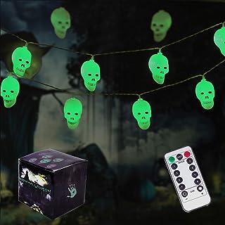 Halloween Skeleton Skull String Lights, 8 Modes 30 LED Halloween Decorations Lights Battery Operated for Indoor & Outdoor Halloween Party, Garden, Bar (Green)