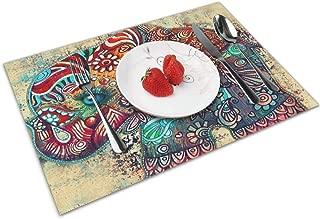 Mats DiningTable Coasters Placemats Kitchen Thai Silk Reed Elephant Round Set 6