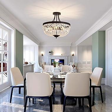 YYJLX 5-Light E12 Round Crystal Ceiling Light Fixture , Modern Semi Flush Mount Chandelier , Ceiling Lamp for Living Room Di