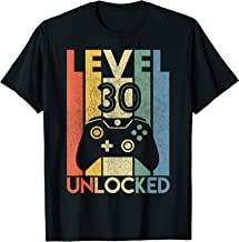 Level 30 Unlocked Shirt Funny Video Gamer 30th Birthday Gift T-Shirt
