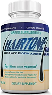 HAIRTONE DHT Blocker, Hair Strengthening Formula, Help Decrease Hair Thinning and Loss, with Added Biotin and Hair Vitamins. Triple Strength (2250Mg), 30 Day Supply