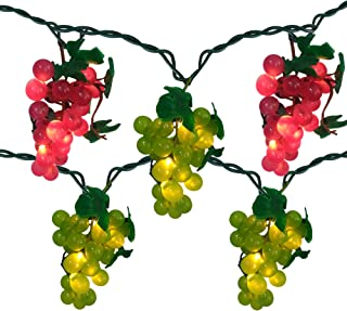 5 Red and Green Grape Cluster String Lights - 6ft. Green Wire