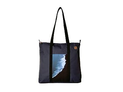 tentree Mobius Daily Tote (Dark Denim Navy/Crashing Waves) Tote Handbags