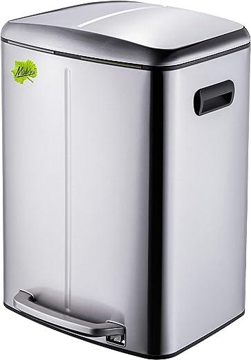 Made for us® 40 L Edelstahl Tret-Abfalleimer 2×20 L Mülleimer 2 Fächer für Küchen, 2-fach Mülltrennung m. 2 Inneneimern, 2er Müll-Trennsystem 40…