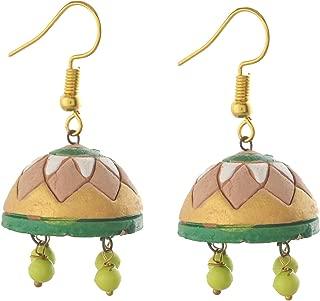 Fashion Handmade Painted Terracotta Hook Jhumki Earrings For Girls and Women