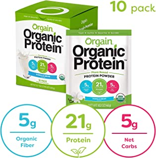 Orgain Organic Plant Based Protein Powder Travel Pack, Vanilla Bean - Vegan, Low Net Carbs, Non Dairy, Gluten Free, Lactose Free, No Sugar Added, Soy Free, Kosher, Non-GMO, 10 Count