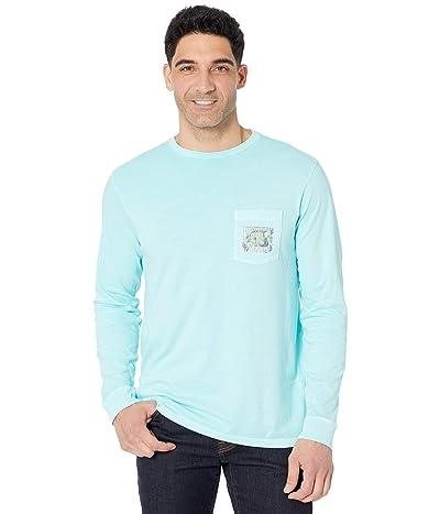 Vineyard Vines Long Sleeve Garment Dyed Tropical Fish Pocket T-Shirt