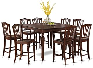 East West Furniture 9 PC Height Table Set-Square Gathering Tablealong with 8 Kitchen Counter Chairs, Wood Seat, Mahogany Finish