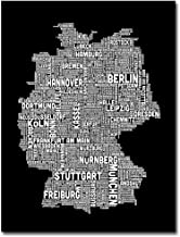 Germany Text Map I by Michael Tompsett, 18x24-Inch Canvas Wall Art