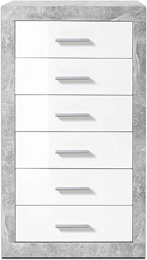 Stella Trading Kommode mit Schubladen, Schubkastenkommode Weiß glanz, BxHxT 66 x 102 x 37 cm