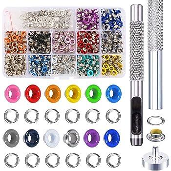 300 Pz 5mm Occhielli Grommet Metallo Scarpe Abbigliamento Artigianato,10 Colori