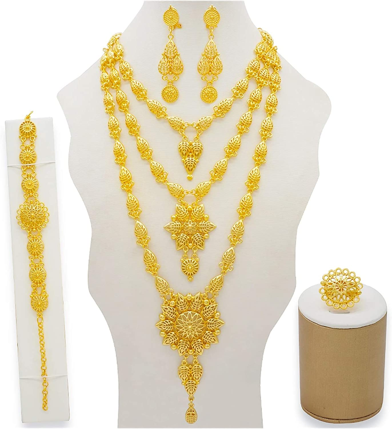DSJTCH Dubai Jewelry Sets Gold Necklace & Earring Set for Women African France Wedding Party 24K Jewelery Ethiopia Bridal Gifts (Metal Color : BJ832)