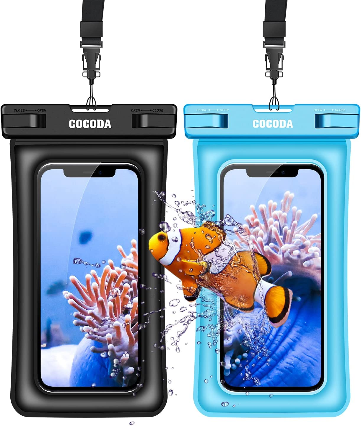 Cocod Waterproof Phone Pouch Floating, 2 Pack IPX8 Waterproof Phone Case Dry Bag Compatible with iPhone 12 Pro Max/11 Pro Max/XR, Galaxy S21 Ultra/S20/Note 10 Up to 7
