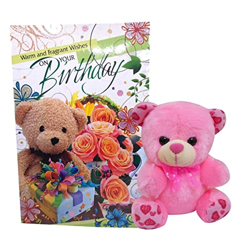 Natali Teddy With Birthday Greeting Card - Pink