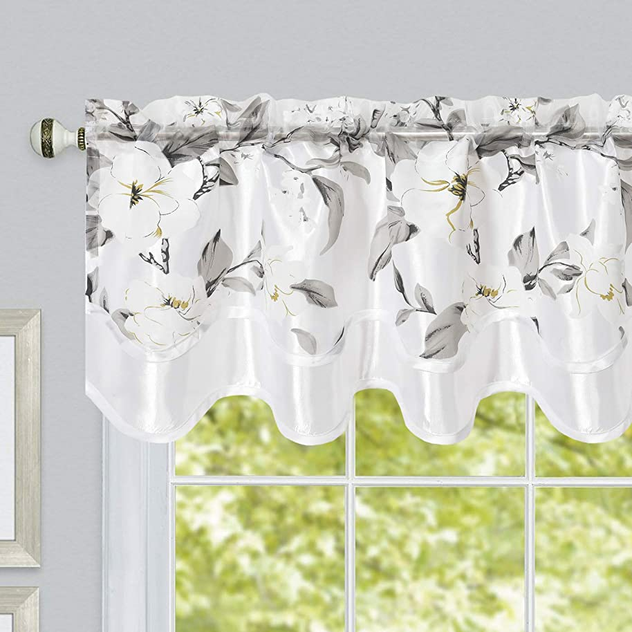 GOHD Golden Ocean Home Decor Roman Romance. Burnt-Out Printed Organza Window Treatment. 1pc Double Layer Valance. Floral Print Organza Voile Sheer with Taffeta Backing (White, 55