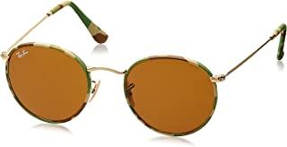 RAY-BAN RB3447JM Round Metal Sunglasses, Camouflage Green & Beige/Brown, 50 mm