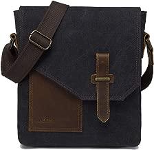 Small Messenger Bag,VASCHY Vintage Canvas Leather Lightweight Crossbody Bag