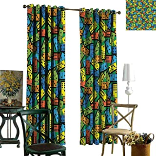 Thermal Insulated Blackout Curtains Casino,Colorful Retro Domino Bricks Fabric Curtains for Bedroom 84 x L108 inches