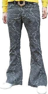 Fuzzdandy Uomo Motivo Cachemire Bell Bottoms Flares Grigio Pantaloni Svasati Jeans rétro Hippie MOD Indie