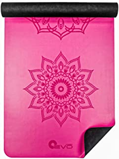 Thin Yoga Mandala Mat with Rubber Base and Vegan Leather Face