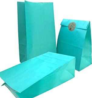 Party Bag 50 pcs Food Safe Kraft Paper and Ink, Natural (Biodegradable), Vivid Colored Candy Cookie Buffet Bags, Bottom Square Bag.with 48 pcs Thank You Stickers 1.5 inch. (Turquoise Blue Color)
