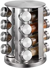 Spice Rack With 16 Jars, Countertop Spice Tower, Round Spice Rack, Countertop Spice Rack, Revolving Spice Rack Organizer for Seasoning Dried Herbs -16 Spice Jars (Stainless Steel)