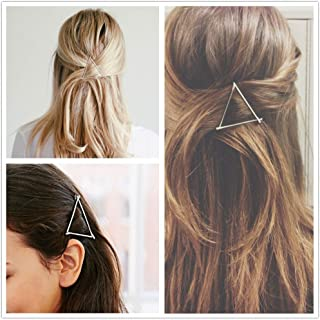 AKOAK Hollow Hoop Triangle Geometric Metal Hair Clip Bobby Pin Ponytail Holder Hair Accessories for Women and Girl (2 Pcs/Lot,1 Gold & 1 Silver)