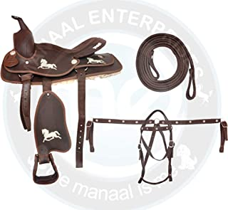 ME Enterprises Synthetic Suede Australian Stock English Horse Saddle Tack with Horn Printed Horse Logo Get Matching Nylon Headstall, Breast Collar & Reins Size 16