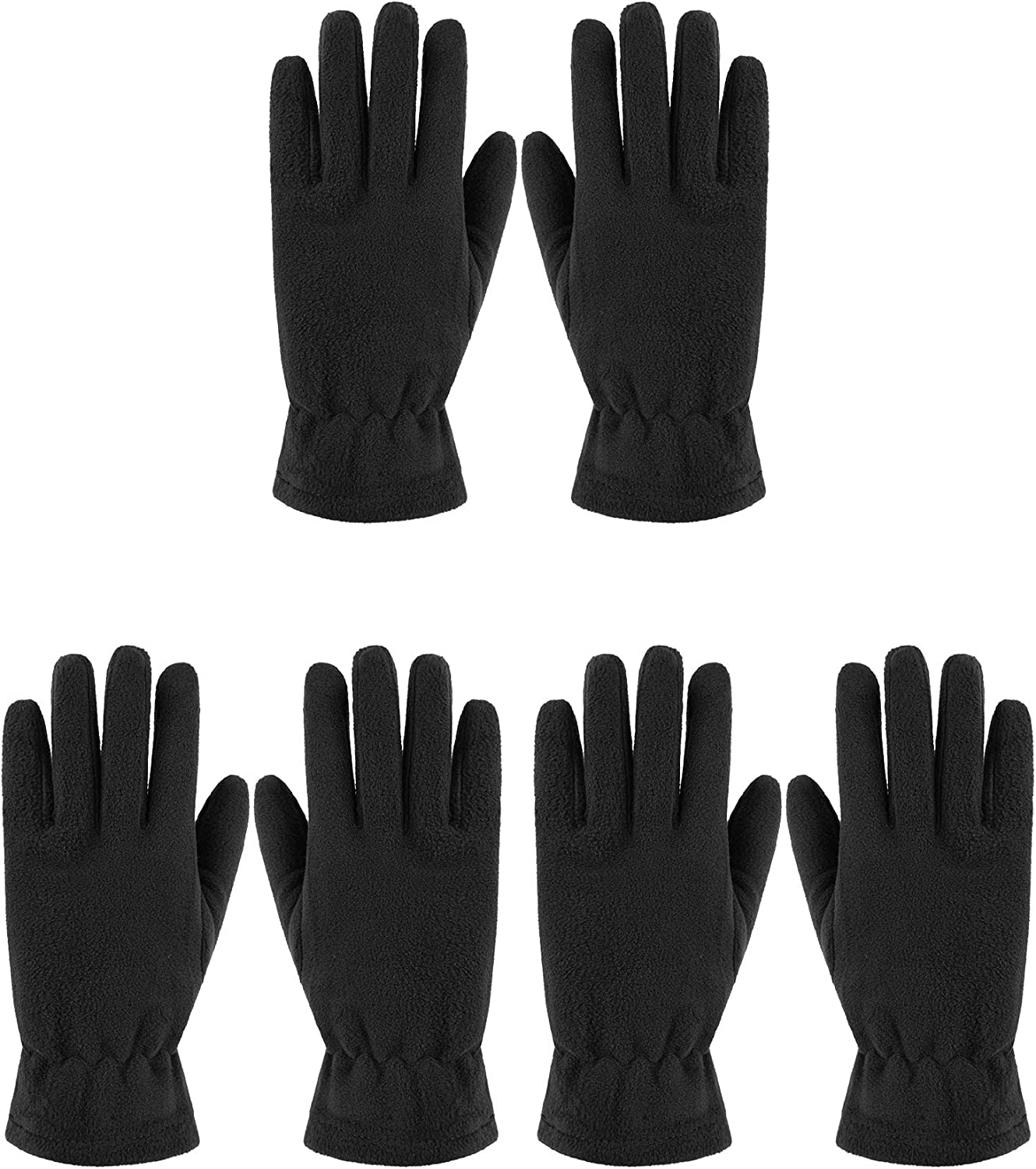 3 Pairs Women Winter Fleece Gloves Thick Thermal Mittens for Outdoor Sports