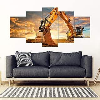 JESC Wall Art Excavator Heavy Equipment Operator On Sunset Framed Canvas Print Painting for Living Room