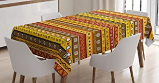 Ambesonne Primitive Decor Tablecloth, Art with Abstract Pattern Ancient Indigenous Rug Motif with Primitive Symbol, Rectangular Table Cover for Dining Room Kitchen, 52