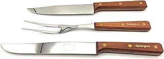 Set de 3 pièces : couteau à rôtir et viandes cuites, couteau de cuisine et fourchette. Fabriqué artisanalement : lame acie...