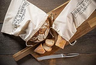 STAWOXX Brotbeutel und Baguettebeutel 100% Baumwolle - 2er Set - NEU - Wiederverwendbare Beutel zur Aufbewahrung von Brot, Gebäck, Gemüse, etc - Brotsack mit Kordelzug für plastikfreien Einkauf