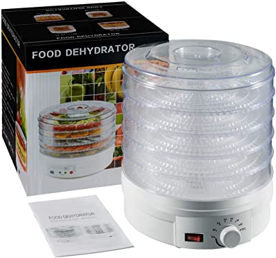 Deshidratador de alimentos de 110 V, 350 W, 5 bandejas, máquina seca de frutas para frutas, verduras, hierbas, golosinas para perros, carne, carne y carne de res, secadora de aperitivos con perilla de control de temperatura