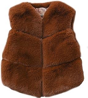 FOLOBE Los niños de otoño e Invierno Faux Fur Chalecos Los nuevos Cabritos imitación Fox Pelo Gilets Abrigos para Las niña...