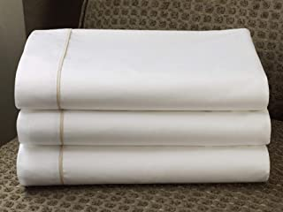 Westin Luxe Middle Sheet - Soft, Breathable 300 Thread Count Cotton Flat Sheet - White with Taupe Trim - King (112